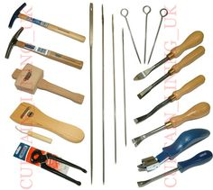 upholstery tools - hammers, webbing stretchers, nippers, needles, skewers chisels, and staple/tack removers