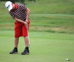 Connor Ritter sinks his birdie putt on the 16th hole in the First National Bank Junior Golf Tour event at Carroll Meadows Golf Course Thursday. Ritter shot an even par 36 to win the Boys 12 and under Division of the Tournament. (TimesReporter.com / Jim Cummings)