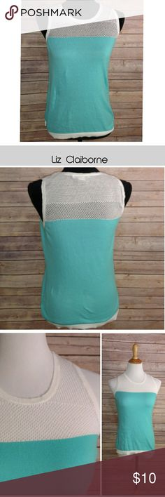 Liz Claiborne Tank Brand: Liz Claiborne Size: Small  Great athletic / tennis tank top. Aqua and white. Features a white mesh top.   Material: 100% Cotton.   Good, Pre-owned condition. Liz Claiborne Tops Tank Tops