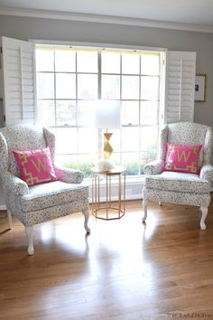 Classic and Fun Formal Living Room Reveal - Beautiful wingback chairs in a playful print with Target side table and Macy's lamp
