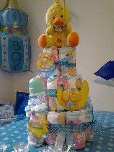Pastel en pañales para babyshower