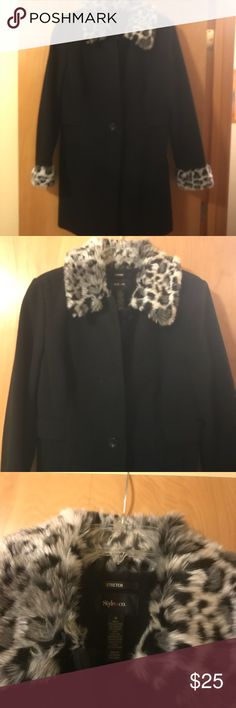 Fur collar and cuff Pant coat Hip length pant coat, fur accents Style & Co Jackets & Coats