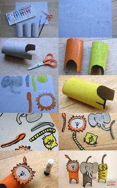 On a fabriqué dernièrement des animaux de la savane mais si votre enfant préfère en ce moment les animaux de la ferme, vous pourrez tout à fait fabriquer avec lui une vache, un âne, un mouton, une biquette.... ou alors un ours, un panda... bref, la plupart des animaux sont possibles ! Côté matériel, c'est plutôt minimal : des tubes de papier toilette, une boite de céréales et des peintures (et si vous n'avez pas de peinture, des feutres sont également tout à fait appropriés à cette ...