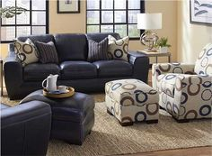 "93"" ""Cobalt"" Blue Leather Sofa"