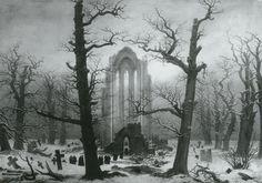 Monastery Graveyard in Snow (Destroyed) - Caspar David Friedrich, 1817-19
