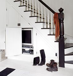 Under stairs hidden TV storage Staircase Storage, Stair Storage, Tv Storage, Built In Storage, Storage Ideas, Extra Storage, Staircase Ideas, Tv Built In, Built Ins