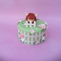 """Another """"Highland cattle"""" cake Farm Animal Cakes, Farm Animals, Cow Cakes, Highland Cattle, Ffa, 3rd Birthday, Desserts, Kids, 3 Year Olds"""