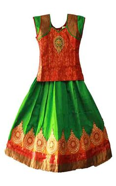 Gorgeous kids girls pattu pavadai / lehenga /pavada size : 4 - 5 years Price: 1375 Free shipping all over India http://www.princenprincess.in/index.php/home/product/261/Red%20and%20green%20pavadai