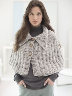 Knit this easy Quick Knit Capelet with our featured yarn! Free pattern calls for 4 balls of Wool-Ease Thick & Quick in Grey Marble and size 13 36 inch circular knitting needles.