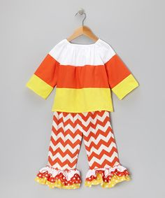 Candy Corn Top & Zigzag Ruffle Pants - Infant, Toddler & Girls *I SERIOUSLY need to learn to sew so I could make this kind of cuteness for my girls!