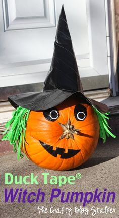 Dress up your Jack O'Lantern for Halloween as a witch pumpkin. A no-carve idea using Duck Tape to decorate a pumpkin. An Easy DIY Craft Tutorial Idea. Pumkin Decoration, No Carve Pumpkin Decorating, Pumpkin Carving, Decorating Pumpkins, Pumpkin Painting, Decorating Ideas, Craft Ideas, Cute Halloween Costumes, Halloween Crafts