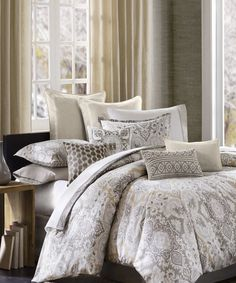 Gray & Cream Paisley Comforter Set | something special every day