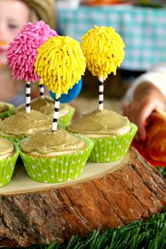 lorax birthday cakes | Homemade truffula tree cake pops with naturally colored royal icing