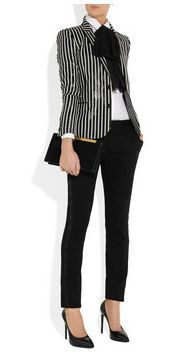 Saint Laurent striped glossed rayure-effect blazer.I seem to be liking the str Saint Laurent striped glossed rayure-effect blazer.I seem to be liking the str. Business Casual Dresscode, Business Outfits, Business Attire, Office Outfits, Business Fashion, Office Fashion, Work Fashion, Fashion Outfits, Womens Fashion