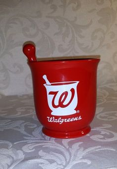 Walgreens Red Ceramic Mortar & Pestle Large Coffee Mug Planter Pencil Cup 4.5""
