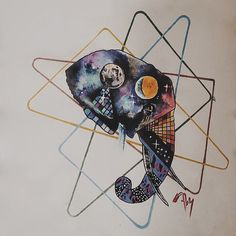 Elephant universe watercolor customwork