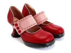John Fluevog pink and red shoes. Love it.
