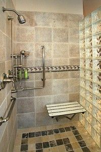 shower bars and seat in shower
