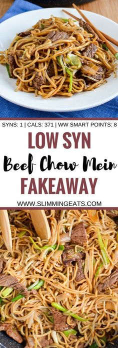 Slimming Eats Low Syn Beef Chow Mein - dairy free, Slimming World and Weight Watchers friendly