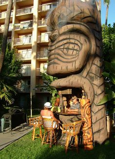 The giant Tiki Bar that can be found annually at Tiki Oasis each summer in San Diego!