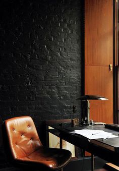 masculine with leather home office design ideas