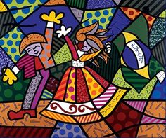 """Romero Britto nasceu em Recife, no Brasil, em 1963. Autodidata em tenra idade, ele pintou em superfícies como jornais. Em 1983, ele viajou para Paris, onde ele foi apresentado à obra de Matisse e Picasso. Ele combinou com influências do cubismo, pop para criar um estilo vibrante e icônico que o The New York Times descreve, """"calor exala otimismo e amor.""""Obra : Cores do Brasil 1996"""