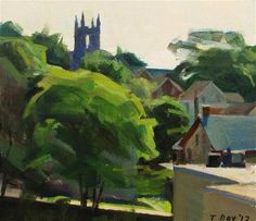 """Nn""""Study of Sellersville with St. Andrew's, Early Morning"""" - Original Fine Art for Sale - © Taryn Day"""