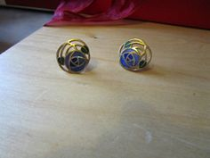 """New Listing Started goldtone stud earrings round with lilac/green/purple enamel 3/4""""across £1.25"""