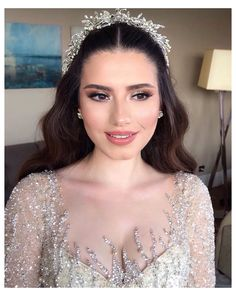 Wedding Makeup For Brown Eyes, Bridal Makeup Looks, Bridal Hair And Makeup, Bride Makeup, Wedding Hair And Makeup, Hair Makeup, Hair Wedding, Natural Bridal Makeup, Dramatic Bridal Makeup