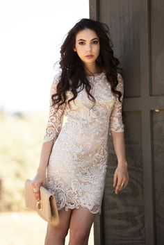 Look stunning in this glam lace dress! Three-quarter sleeves and lined from top to hem. Sleeves are see-through. Dress is fitted with a little stretch. Runs small, so if unsure, sizing up is recommend