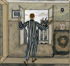 Jāzeps GROSVALDS | Latvian | Latvia 1891 –  Paris, France 1920 | Post-Impressionism, Modernism. Pie atvērtā loga (At the Open Window), 1910.