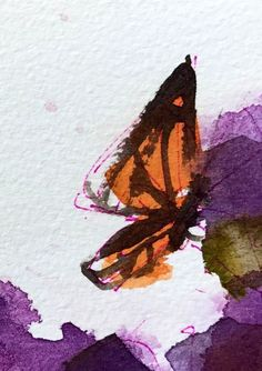 Butterfly no. 17 original watercolor painting Angela Moulton ACEO Art #Impressionism