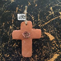 Cross Ornament with Mauve Paper Flower Red Dirt by OklahomaRealRedDirt on Etsy