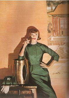 Iris Bianchi in suit by Andrew Arkin, photo by Louise Dahl-Wolfe for Harper's Bazaar Oct. 1957