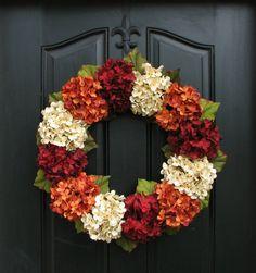 Fall Hydrangea Wreaths, Fall Wreaths Etsy, Fall Hydrangea Wreaths for Front Door, 20 Fall Wreaths, Outdoor Autumn Wreaths NEW DESIGN FOR 2014