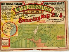 Charlestown: Planned subdivision of the old Waratah Company's estate Charlestown Heights. Sale by auction Royal Crown Hotel, Adamstown Heights Saturday, May Community History South Australia, Western Australia, Vintage Maps, Vintage Posters, Tourist Info, Old Port, Newcastle Nsw, Old Maps, Central Coast