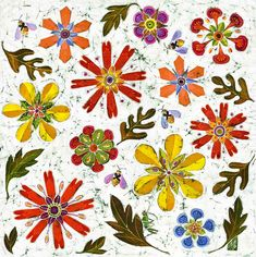 Fine art giclee print of bees in the jewel garden. Print from an original floral batik. Batik Art, Batik Prints, Warm Colors, Colours, Sign Printing, Botanical Prints, Prints For Sale, Giclee Print, Fine Art