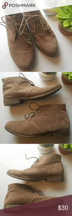 """Madden girl dontee faux suede tan booties Every wardrobe needs a pair of flat booties and the Madden Girl Dontee is the perfect choice!  Slip this chic desert boot on too add some oomph to your casual ensemble. Would look super cute with leggings!  Deep tan color Size 8 Faux suede upper Lace-up ¾"""" block heel Synthetic sole  There are some small spots of wear on the suede and the bottoms of the soles, but these are overall in super good condition and the inner soles are clean. Madden Girl…"""