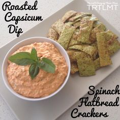 Roasted Capsicum Dip and Spinach Flatbread Crackers easy in the thermomix too Dip Recipes, Light Recipes, Snack Recipes, Cooking Recipes, Recipies, Savory Snacks, Healthy Snacks, Healthy Recipes, Capsicum Recipes