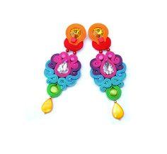 Oriental longue boucle d'oreille Rainbow Dangle par StudioGianna
