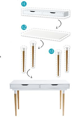 3 easy steps to customizing your own Ikea desk - High/low: Cozy home office nook - Ikea DIY - The best IKEA hacks all in one place Desk Hacks, Ikea Hacks, Hacks Diy, Ikea Linnmon Desk, Cozy Home Office, Office Nook, Apartment Office, Ikea Office, Furniture Redo