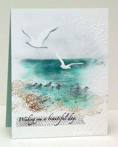 Sylvia's Stamping Corner: ColourQ Challenge # 345 Basic Gray, Bordering Blue, Taken With Teal, Soft Suede, Woodgrain Stamp Stampin' Up! Sympathy Cards, Greeting Cards, Nautical Cards, Beach Cards, Stamping Up Cards, Bird Cards, Watercolor Cards, Simple Watercolor, Kirigami