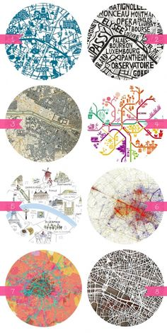 beautiful maps of Paris. this could be a super cute art piece for your house!