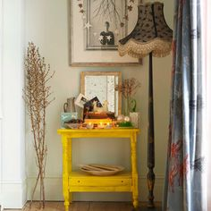Yellow table and star decorations: Interiors. Find more ideas at Redonline.co.uk