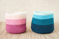 Small crochet basket ombre pink by elamys on Etsy