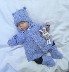 Купить Кофточка + шапочка + пинетки Голубая мечта - голубой, комплект вязаный, для новорожденного