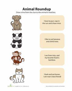 Worksheets: Animal Matching 1