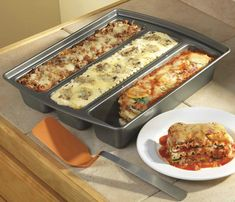 This is the lasagna pan we need at my house! Chicago Metallic Lasagna Trio Make 3 different lasagna dinners in one pan! I can make a veggie one and a meat one at the same time Kitchen Tools, Kitchen Gadgets, Kitchen Pantry, Kitchen Layout, Kitchen Appliances, Kitchen Products, Kitchen Stuff, Cooking Gadgets, Kitchen Ideas
