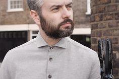 Grey wool-cotton semi-cutaway shirt.