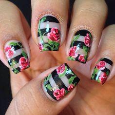 negative space w/ roses! | #nailart #nail #nails #nailpolish #mani #manicure